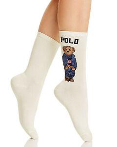 POLO RALPH LAUREN RL Womens Off White Teddy Bear Socks One Size UK 4-7 EU 37-41