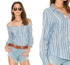 CP SHADES Women's ROMY Shirt Button up Chambray Blue Striped Size Medium