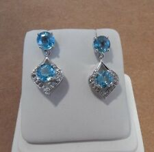 Stunnig 5.63cts Genuine Blue Zircon & White Topaz Sterling Silver Drop Earrings