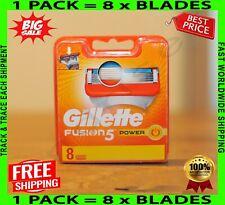 Gillette Fusion 5 Power Blades 8 Razor Cartridges Refills 🌏 NEW ✈️ Free P&P 🔥