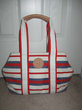 Tory Burch Striped Robinson East West Tote in Comet