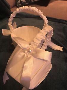 White Satin Beaded Wedding Flower Girl Basket Bowknot Decor~2 Pcs