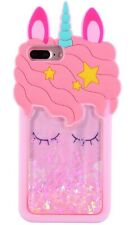 Pink Girly 3D Unicorn Liquid Phone Case Protective Silicone Gel Cover For iPhone