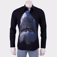 GIVENCHY 835$ Slim Fit Black Cotton Shark Printed Shirt