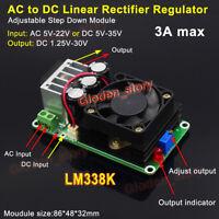 3A LM338K AC/DC-DC Buck Step Down Voltage Regulator Rectifier 3.3V 5V 9V 12V 24V