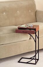 Side Sofa End Table Wood Desk TV Computer Coffee Tray Slide Under Couch  Drawer