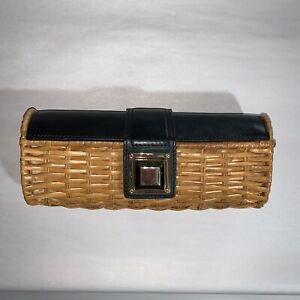 pre-loved auth MICHAEL MICHAEL KORS wicker/leather baguette clutch