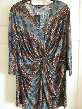 FOREVER FASHIONS TEAL AND BROWN STRETCH TOP SIZE 24 BNWT