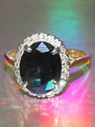 STUNNING SECONDHAND 18ct GOLD & PLATINUM SAPPHIRE & DIAMOND CLUSTER RING SIZE N