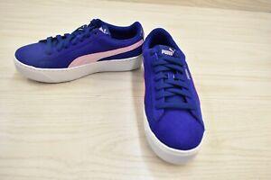 Puma Kids Vikky Platform 366485-04 Suede Sneakers, Big Girl's Size 6, Blue NEW