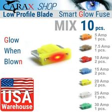 Fuses MINI LOW PROFILE blade mix 10 AUTO LED indicator GLOW WHEN BLOWN ATC ATO