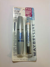 Maybelline Volume Express Waterproof Mascara VERY BLACK + Bonus Shadow BLUE NEW.