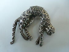 Sterling Silver Panther or Jaguar Cat Pin Brooch Ruby Eyes