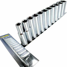 "Deep Socket Set/ Long reach Sockets on rail 3/8"" drive heavy duty Sockets 8-19mm"