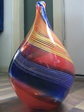 "STUDIO ART Blown Glass 12"" RAINBOW Twirl - WEED VASE - JAR - TEARDROP URN Carafe"