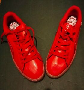 Puma Basket red patent leather size 12