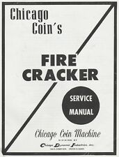 Chicago Coin Firecracker Fire Cracker Pinball Machine Manual