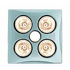 HPM 4x275W BATHROOM INSTANT HEAT 3in1 Exhaust Fan & 7W LED Light Square - SILVER