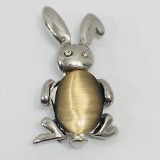 Jelly Belly Bunny Brooch Glass Moonstone Rabbit Pin Rhinestone Eyes