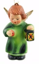 Ceramic Green Child Angel With Lantern Christmas Ornament Holiday Decoration