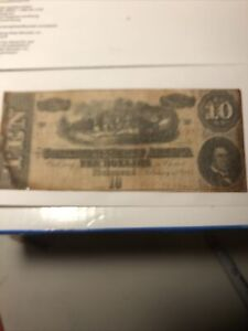 1863 February 17(?)- 1st Series $10 TEN Dollars ~ CSA Currency Note ~ Richmond