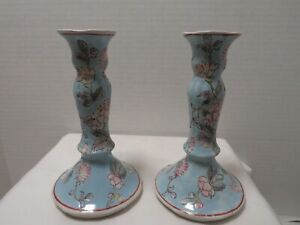 """TAPER CANDLE HOLDER SET OF 2-BLUE, PINK, PURPLE, GREEN 6.5"""" TALL"""