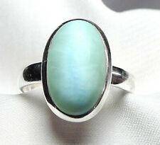 Larimar Ring 925 Silber Gr. 18,1 (57) mit ovalem Edelstein Cabochon UNIKAT - NEU