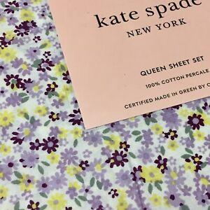 Kate Spade QUEEN Cottage Floral Purple Lavender Sheet Set 4pc Cotton Percale