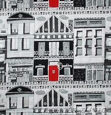 BonEful Fabric FQ Cotton Quilt B&W Black White Red City Home House Decor Street