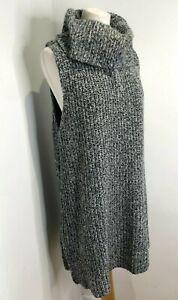 Long Tall Sally grey fleck chunky knit roll neck sleeveless jumper XL layering