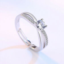 925 Sterling Silver Crystal Stone Adjustable Ring Women Girls Jewellery Gift UK