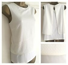 NEW EX M&S COLLECTION CREAM TEXTURED TWO LAYER OPEN BACK TOP SIZE 6 - 24