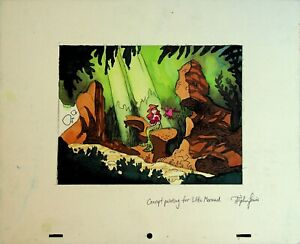 Disney's THE LITTLE MERMAID Signed STEPHEN LEWIS Studio Concept Painting #SL