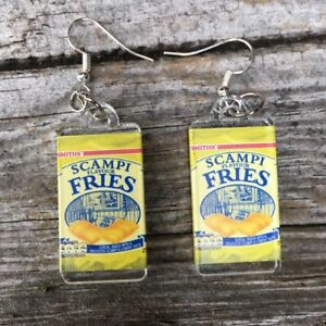 Handmade Scampi Fries Crisps Chips Junk Food Dangle Earrings Silver plate hooks