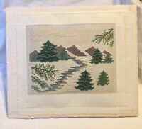 Vintage Counted Cross Stitch Finished Evergreen Trees Mountains & Stream Mounted