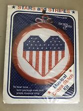 New Berlin Musical Cross Stitch Pattern Stars & Stripes Patriotic w Music chip