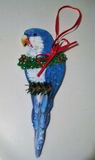 Blue Quaker Monk Parakeet Holiday Christmas Tree Ornament Hand Made in Usa!