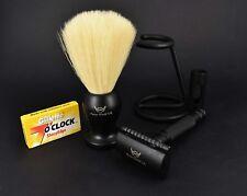 FW ® - Set da barba nera Doppio Bordo Rasoio di sicurezza-Kit da barba naturale per Uomo