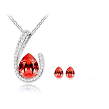 SILVER AND CRYSTAL NECKLACE & EARRING SETS IN AMBER **UK SELLER** WEDDING GIFT