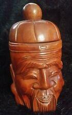 tea caddy tobacco jar mans head shape figure Antique 19th c.