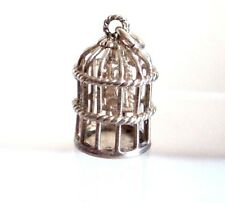 Vintage STERLING SILVER CHARM Whimsical BIRD IN A CAGE Moving 3.67g