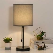 Minimalist Desk Lamp with Fabric Shade and Pull Chain Switch Simple Modern Lamp