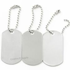 50 BLANK STAINLESS STEEL DOG TAGS SHINY/MATTE MILITARY SPEC WITH/WITHOUT KEY TAG
