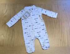 The Little White Company Organic Cotton Train Collared Sleepsuit, 0-3 Months NWT