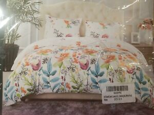 JML LUXURY DUVET COVER SET KING 2 SHAMS MICROFIBER WHITE FLORAL BED BEDROOM NEW