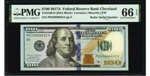"$100 2017A Fr. 2189-D FRN "" RADAR Serial Number 23666632 "" PMG 66 EPQ * Currency"