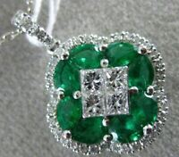 ESTATE LARGE 1.11CT DIAMOND & AAA EMERALD 18KT WHITE GOLD 3D MULTI SHAPE PENDANT