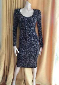 (MAR392) Size 12 *OASIS* Chic black/grey knit bodycon dress ladies/womens