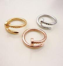 Size5~9 18K Gold Filled Stainless Steel Jewelry Nail Lovers Rings Gift 3 Colors