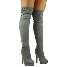 Womens Ladies Stretchy Thigh High Over The Knee Long Plain Heel BOOTS Shoes Size UK 5 / EU 38 / US 7 Grey Suede
